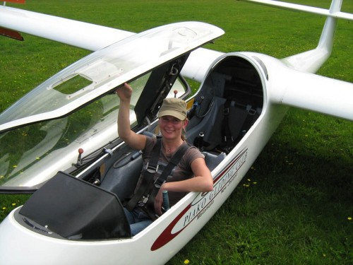 Aimee after completing her first solo flight without an instructor in the back seat!