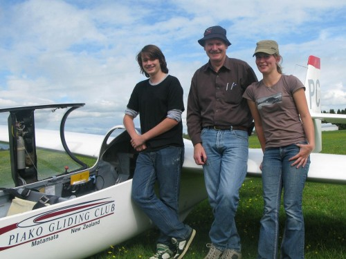 Aimee and Josh, recently solo pilots with instructor Steve Care